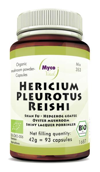 Hericium-Pleurotus-Reishi Organic mushroom powder capsules (blend 353)