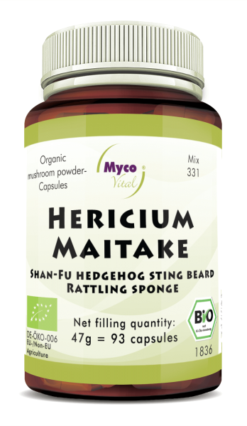 Hericium-Maitake Organic mushroom powder capsules (blend 331)