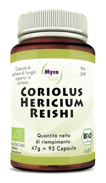 Coriolus-Hericium-Reishi Capsule di polvere di funghi organici (miscela 349)