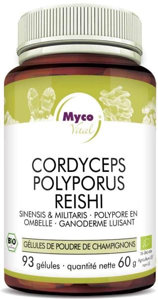 Cordyceps-Polyporus-Reishi Capsules de poudre de champignons biologiques (352)