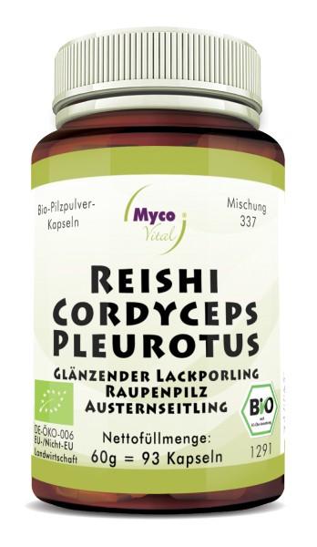 CORDYCEPS-PLEUROTUS-REISHI organic mushroom powder capsules (Blend no. 337)