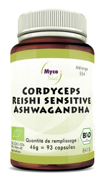 CORDCYEPS-Reishi sens.-ASHWAGANDHA capsules de poudre organique (mélange 0554)