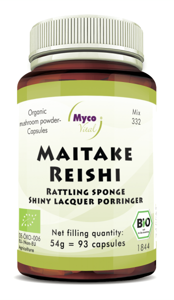 MAITAKE-REISHI organic mushroom powder capsules (Blend no. 332)