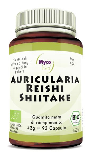 Auricularia-Reishi-Shiitake Capsule di polvere di funghi organici (miscela 354)