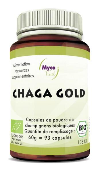 Chaga gold capsules de poudre de champignons vitaux biologiques