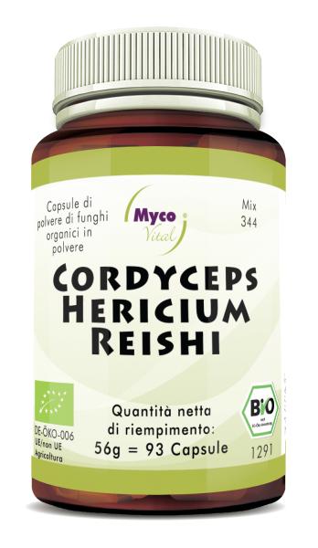 Cordyceps-Hericium-Reishi Capsule di polvere di funghi organici (miscela 344)