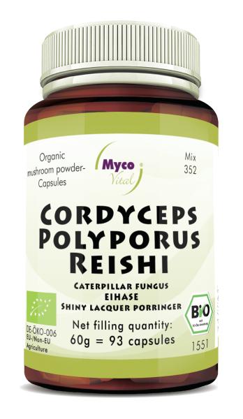 CORDYCEPS-POLYPORUS-REISHI organic mushroom powder capsules (Blend no. 352)