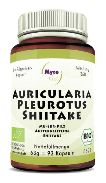 AURICULARIA-PLEUROTUS-SHIITAKE Bio-Pilzpulver-Kapseln (Mischung 360)