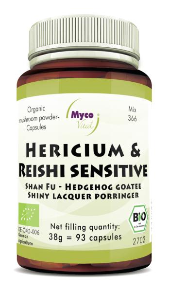 HERICIUM-REISHI Sensitive organic mushroom powder capsules (Blend no. 366)