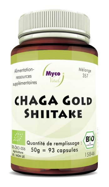 Chaga gold-Shiitake Capsules de poudre de champignons biologiques (mélange 357)