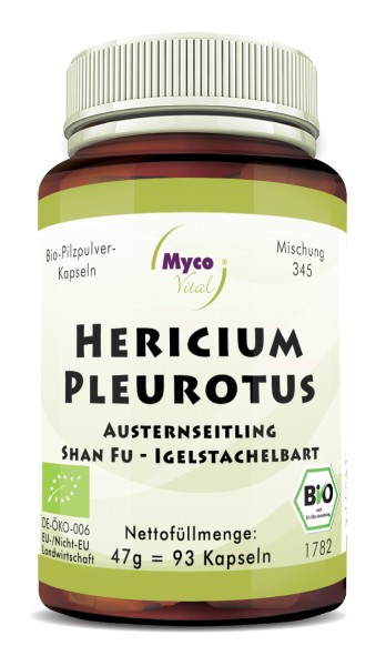 HERICIUM-PLEUROTUS Bio-Pilzpulver-Kapseln (Mischung 345)