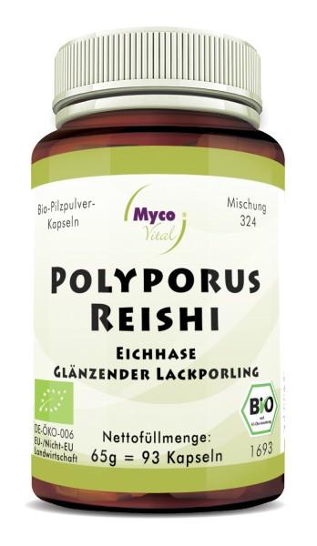 POLYPORUS-REISHI organic mushroom powder capsules (Blend no. 324)