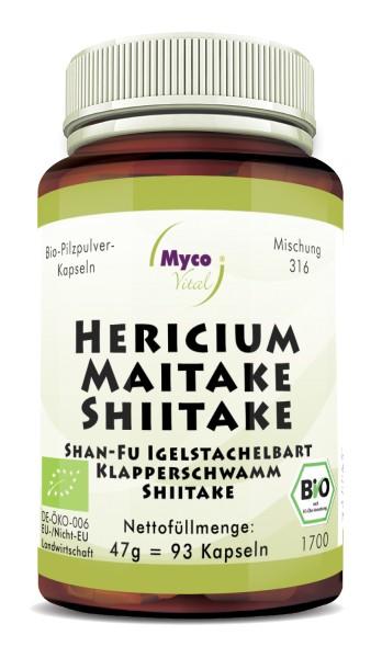 HERICIUM-MAITAKE-SHIITAKE organic mushroom powder capsules (Blend no. 316)