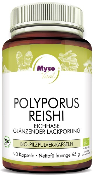 POLYPORUS-REISHI organic mushroom powder capsules (Blend no. 324)