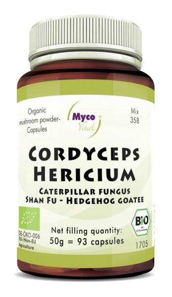 Cordyceps-Hericium Organic mushroom powder capsules (blend 358)