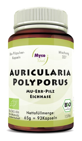 AURICULARIA-POLYPORUS organic mushroom powder capsules (Blend no. 327)