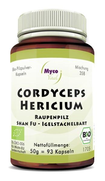 CORDYCEPS-HERICIUM organic mushroom powder capsules (Blend no. 358)