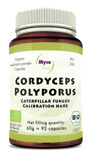 CORDYCEPS-POLYPORUS organic mushroom powder capsules (Blend no. 346)