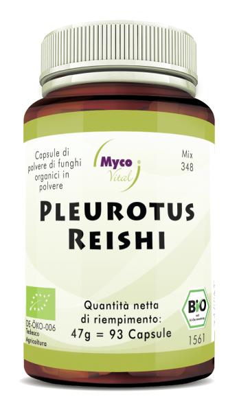Pleurotus-Reishi Capsules de poudre de champignons biologiques (mélange 348)