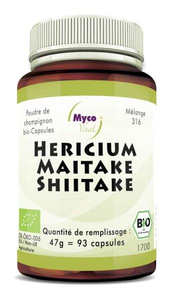 Hericium-Maitake-Shiitake (miscela 316) Capsule di polvere di funghi organici (miscela 316)