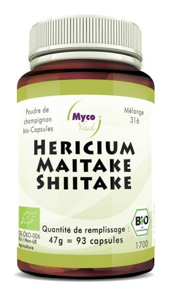 Hericium-Maitake-Shiitake (mélange 316) Capsules de poudre de champignons biologiques (mélange 316)