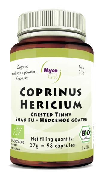 Coprinus-Hericium Organic mushroom powder capsules (blend 355)
