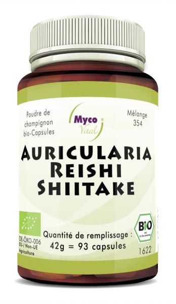 Auricularia-Reishi-Shiitake Capsules de poudre de champignons biologiques(mélange 354)
