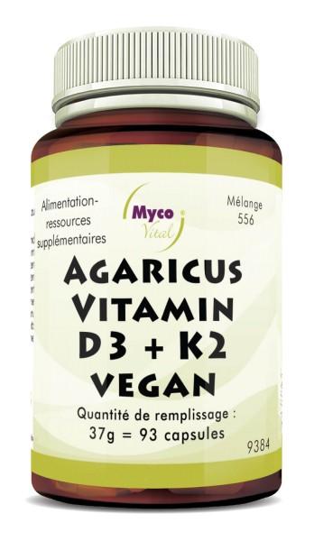 Capsules d'AGARICUS-VITAMINE D3 + K2 VEGAN (Mélange 556)
