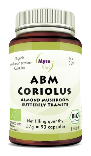 ABM-CORIOLUS organic mushroom powder capsules (Blend no. 359)