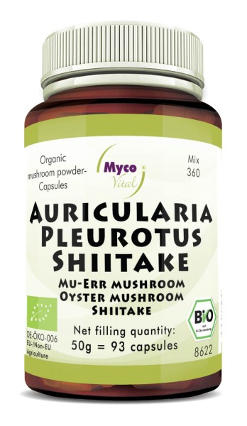 Auricularia-Pleurotus-Shiitake Organic mushroom powder capsules (blend 360)