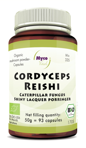 Cordyceps-Reishi Organic mushroom powder capsules (blend 335)