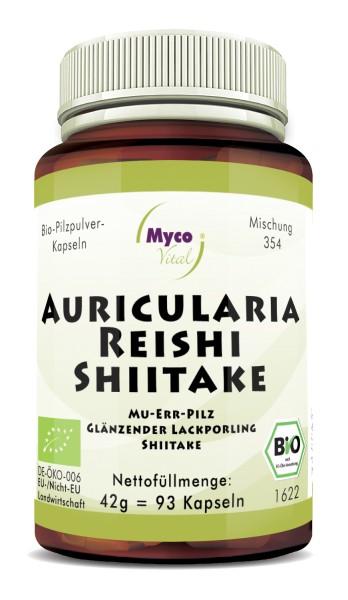 AURICULARIA-REISHI-SHIITAKE Bio-Pilzpulver-Kapseln(Mischung 354)