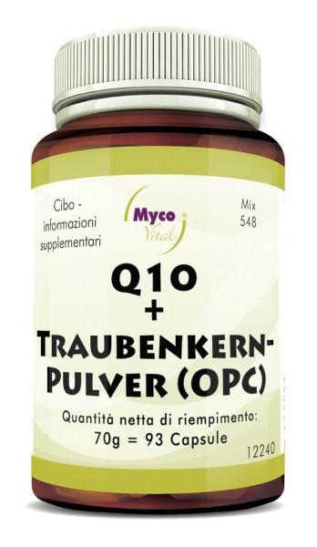 Q10 + CAPSULE DI SEMI D'UVA (OPC) da semi d'uva biologici non oliati (miscela 548)