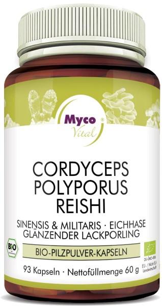 CORDYCEPS-POLYPORUS-REISHI Bio-Pilzpulver-Kapseln (352)