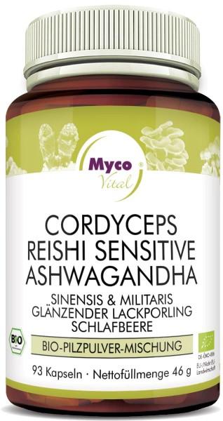 CORDCYEPS-REISHI sens.-ASHWAGANDHA-Bio-Pulver-Kapseln (Mischung 0554)