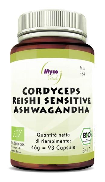 CORDCYEPS-Reishi sens.-ASHWAGANDHA capsule di polvere organica (miscela 0554)