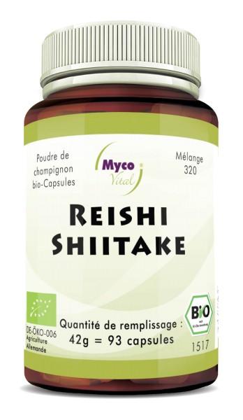 Reishi-Shiitake Capsules de poudre de champignons biologiques (mélange 320)