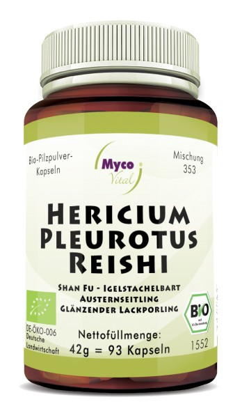 HERICIUM-PLEUROTUS-REISHI Bio-Pilzpulver-Kapseln (Mischung 353)
