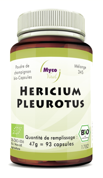 Hericium-Pleurotus Capsules de poudre de champignons biologiques (mélange 345)
