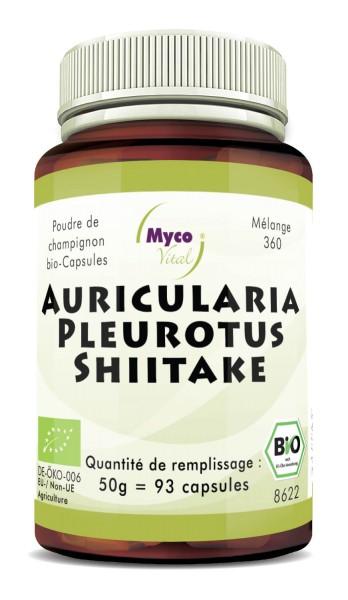 Auricularia-Pleurotus-Shiitake Capsules de poudre de champignons biologiques (mélange 360)