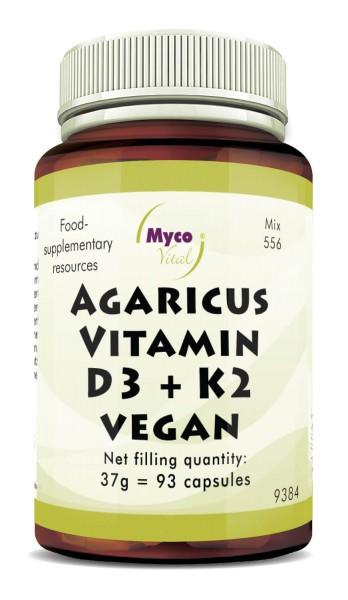 AGARICUS-VITAMIN D3 + K2 VEGAN capsules (blend 556)