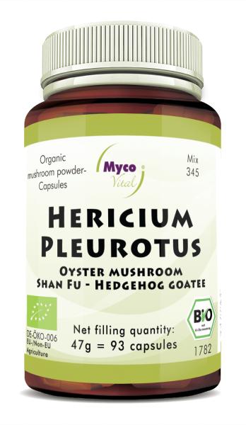 Hericium-Pleurotus Organic mushroom powder capsules (blend 345)