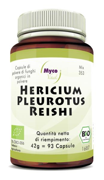 Hericium-Pleurotus-Reishi Capsule di polvere di funghi organici (miscela 353)