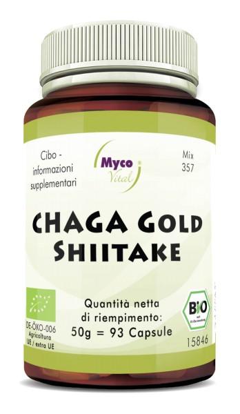 Chaga gold-Shiitake Capsule di polvere di funghi organici (miscela 357)