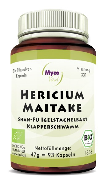 HERICIUM-MAITAKE organic mushroom powder capsules (Blend no. 331)