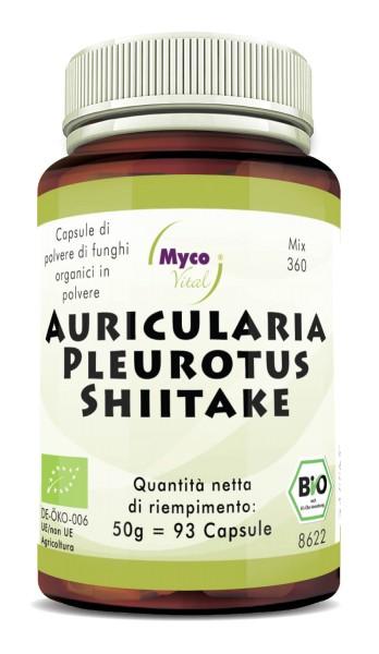 Auricularia-Pleurotus-Shiitake Capsule di polvere di funghi organici (miscela 360)