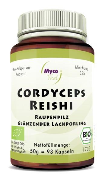 CORDYCEPS-REISHI organic mushroom powder capsules (Blend no. 335)