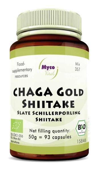 Chaga gold-Shiitake Organic mushroom powder capsules (blend 357)