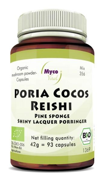 PORIA COCOS-REISHI organic mushroom powder capsules (Blend no. 356)