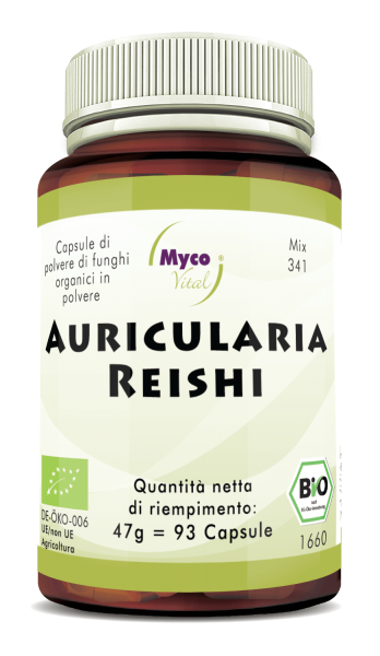 Auricularia-Reishi Capsule di polvere di funghi organici (miscela 341)